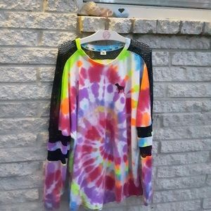 PINK Victoria's Secret Tops - Custom made tye dye Vs pink crew